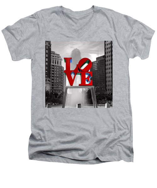 Love Is Always Black And White Square Men's V-Neck T-Shirt