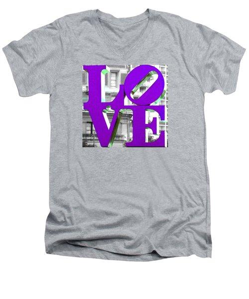 Love Philadelphia Purple Men's V-Neck T-Shirt by Terry DeLuco