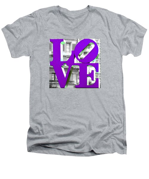 Love Philadelphia Purple Men's V-Neck T-Shirt