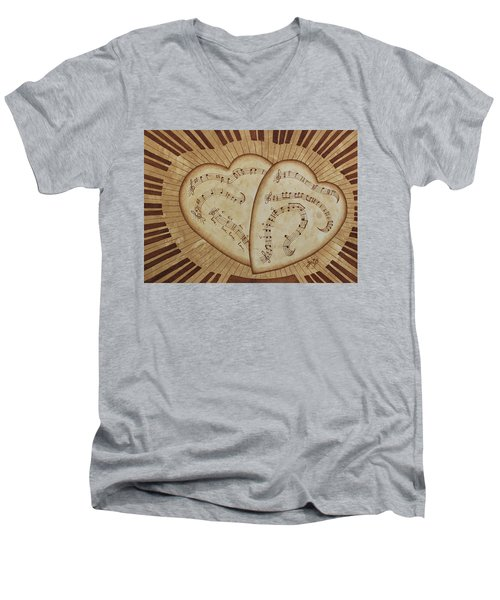 Men's V-Neck T-Shirt featuring the painting Love Song Of Our Hearts by Georgeta Blanaru