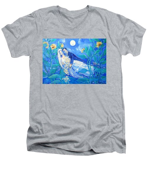 Lovers And Sunflowers  After Marc Chagall  Men's V-Neck T-Shirt