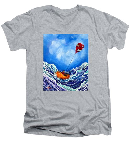 Love's Castaway Men's V-Neck T-Shirt by Jackie Carpenter