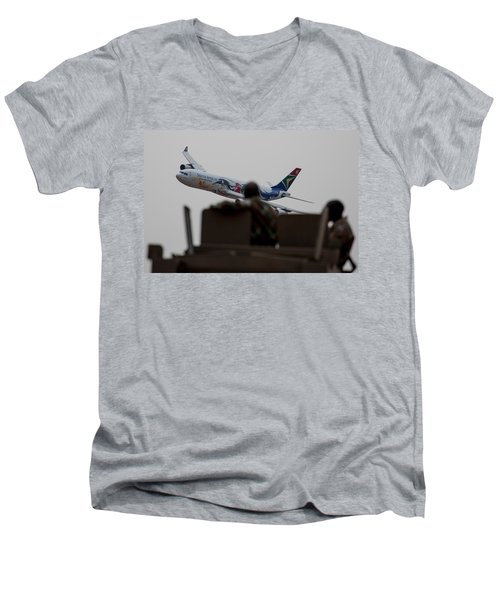 Low Airbus Men's V-Neck T-Shirt by Paul Job