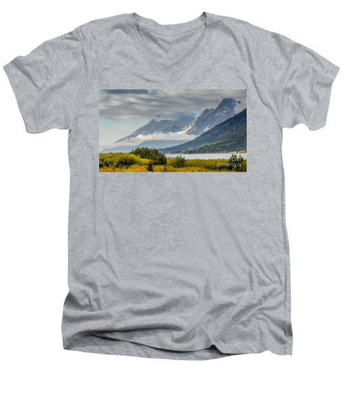 Low Clouds On The Teton Mountains Men's V-Neck T-Shirt by Debra Martz
