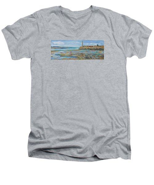 Low Tide In The Harbour. Men's V-Neck T-Shirt