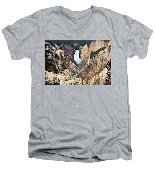 Men's V-Neck T-Shirt featuring the photograph Lower Falls Yellowstone by Teresa Zieba