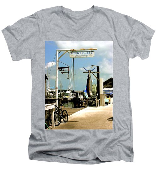 Lucky Fleet Key West  Men's V-Neck T-Shirt by Iconic Images Art Gallery David Pucciarelli