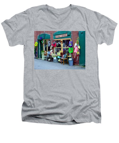 Lucky Seven Men's V-Neck T-Shirt by Kevin Fortier
