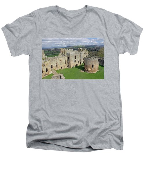 Ludlow Castle Chapel And Great Hall Men's V-Neck T-Shirt by Tony Murtagh