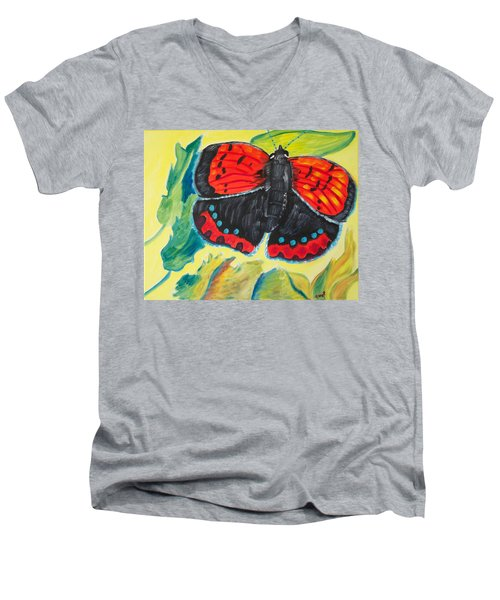 Men's V-Neck T-Shirt featuring the painting Luminous by Meryl Goudey