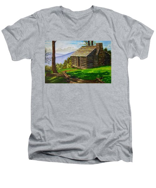 Lunch At An Old Cabin In The Blue Ridge Men's V-Neck T-Shirt