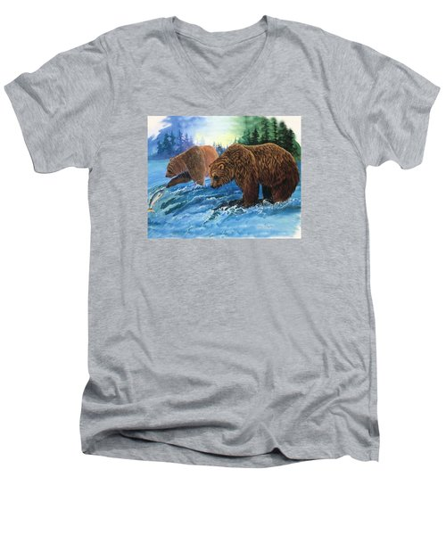 Men's V-Neck T-Shirt featuring the painting Lunch Break by Sherry Shipley