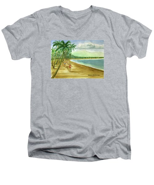 Luquillo Beach And El Yunque Puerto Rico Men's V-Neck T-Shirt by Frank Hunter