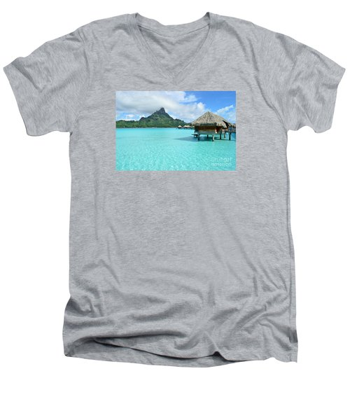 Luxury Overwater Vacation Resort On Bora Bora Island Men's V-Neck T-Shirt