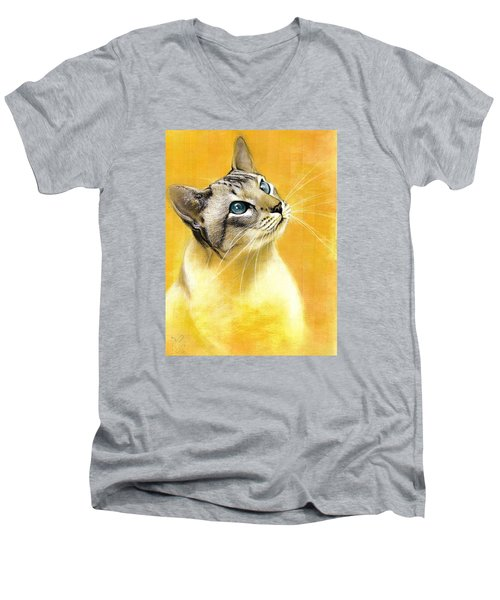 Men's V-Neck T-Shirt featuring the drawing Lynx Point Siamese by VLee Watson
