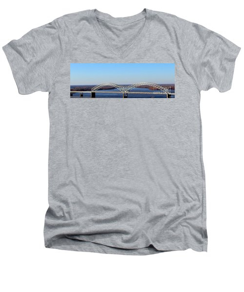 Men's V-Neck T-Shirt featuring the photograph M Bridge Memphis Tennessee by Barbara Chichester