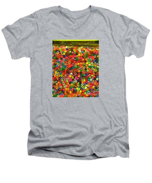 Men's V-Neck T-Shirt featuring the photograph Macaroni Beads by Ranjini Kandasamy