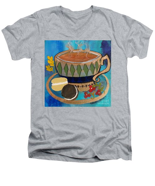 Men's V-Neck T-Shirt featuring the painting Macaroons And Tea by Robin Maria Pedrero