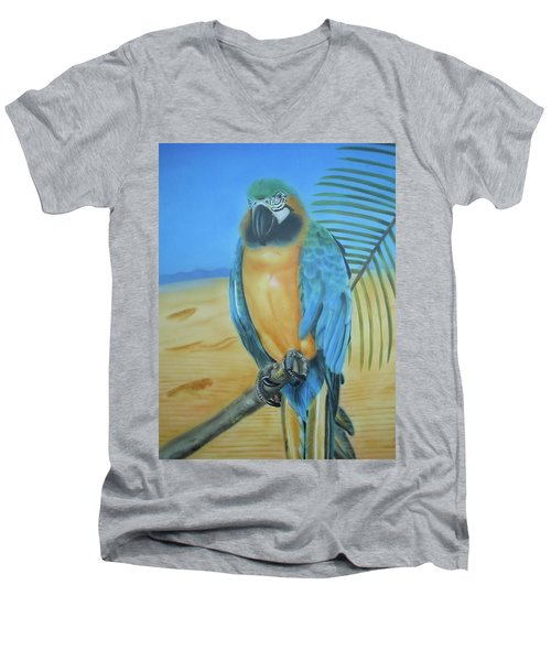 Men's V-Neck T-Shirt featuring the painting Macaw On A Limb by Thomas J Herring