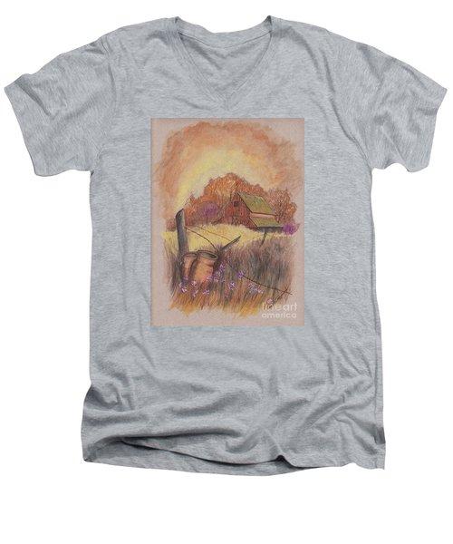 Men's V-Neck T-Shirt featuring the drawing Macgregors Barn Pstl by Carol Wisniewski