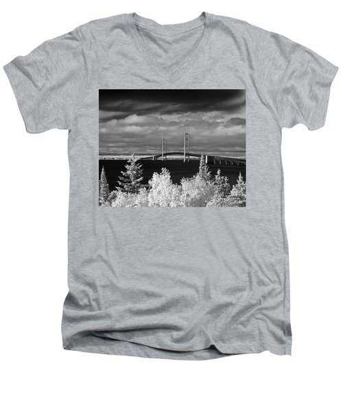 Macinac Bridge - Infrared Men's V-Neck T-Shirt