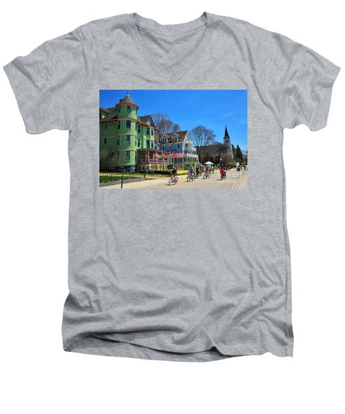 Mackinac Island Waterfront Street Men's V-Neck T-Shirt