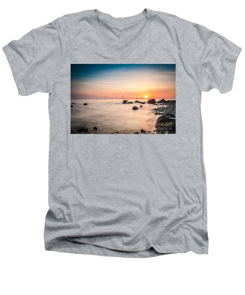 Men's V-Neck T-Shirt featuring the photograph Mackinac Sunrise by Larry Carr