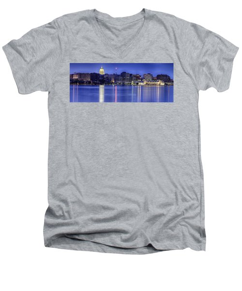 Men's V-Neck T-Shirt featuring the photograph Madison Skyline Reflection by Sebastian Musial