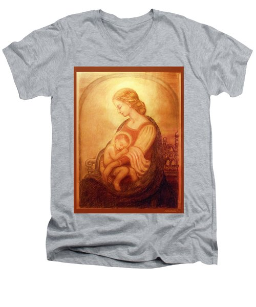Madonna With The Sleeping Child Men's V-Neck T-Shirt by Ananda Vdovic