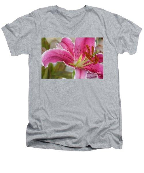Magenta Tiger Lily Men's V-Neck T-Shirt