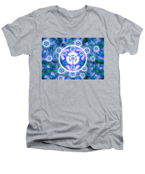 Men's V-Neck T-Shirt featuring the drawing Magnetic Fluid Harmony by Derek Gedney