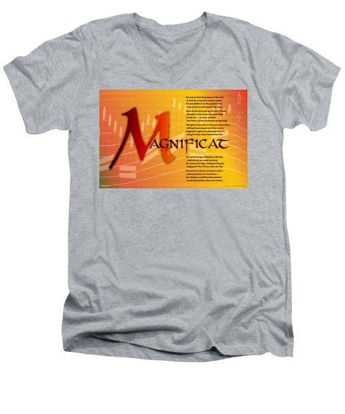 Magnificat Men's V-Neck T-Shirt by Chuck Mountain