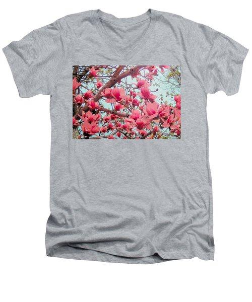 Magnolia Blossoms In Spring Men's V-Neck T-Shirt