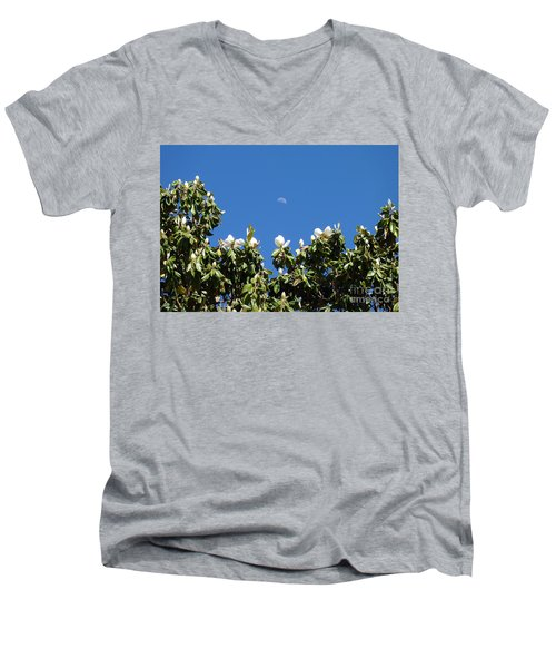 Men's V-Neck T-Shirt featuring the photograph Magnolia Moon by Meghan at FireBonnet Art