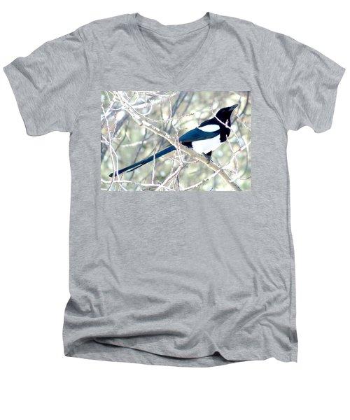 Magpie On Aspen Tree Men's V-Neck T-Shirt by Marilyn Burton