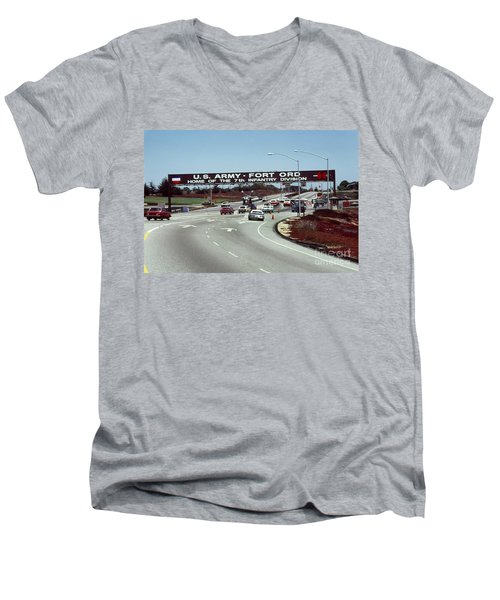 Main Gate 7th Inf. Div Fort Ord Army Base Monterey Calif. 1984 Pat Hathaway Photo Men's V-Neck T-Shirt
