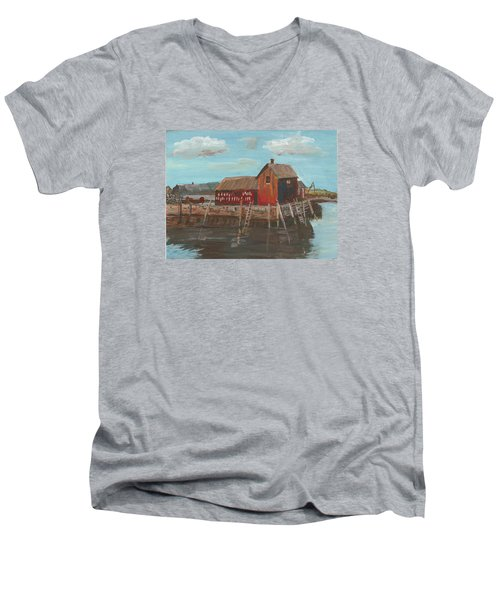 Maine Fishing Shack Men's V-Neck T-Shirt by Christine Lathrop