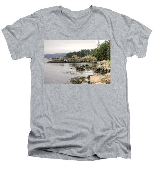 Maine's Beautiful Rocky Shore Men's V-Neck T-Shirt