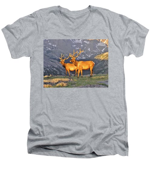Men's V-Neck T-Shirt featuring the photograph Majestic Elk by Diane Alexander