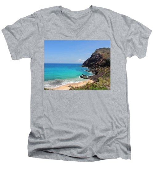 Men's V-Neck T-Shirt featuring the photograph Makapu'u Beach  by Kristine Merc