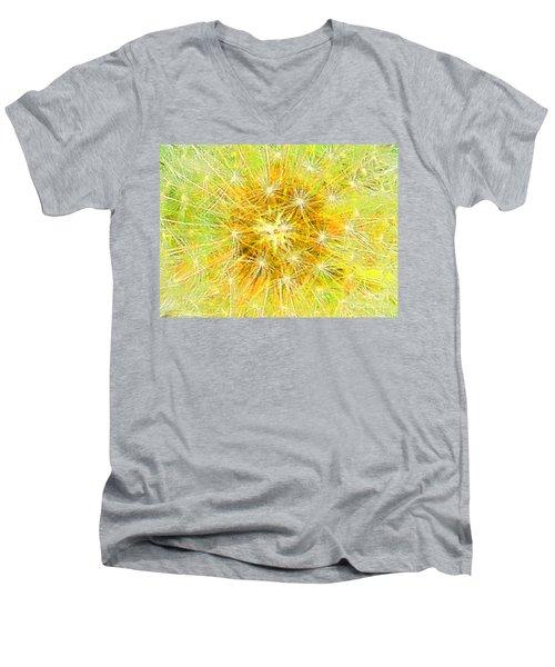 Make A Wish In Greenish Yellow Men's V-Neck T-Shirt