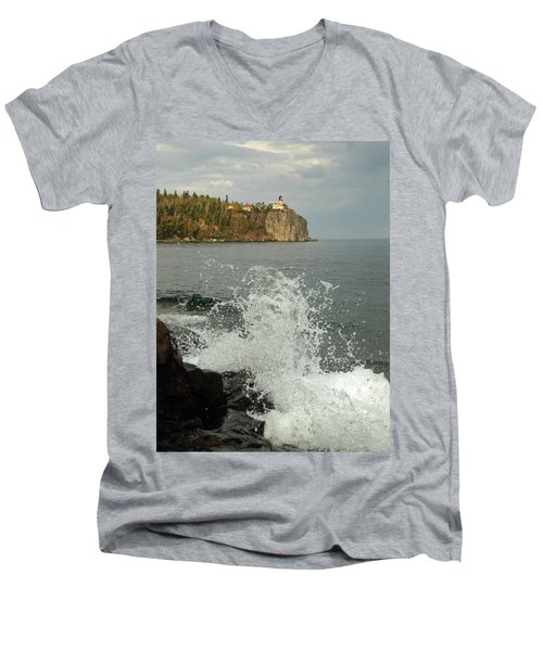 Men's V-Neck T-Shirt featuring the photograph Making A Splash At Split Rock Lighthouse  by James Peterson