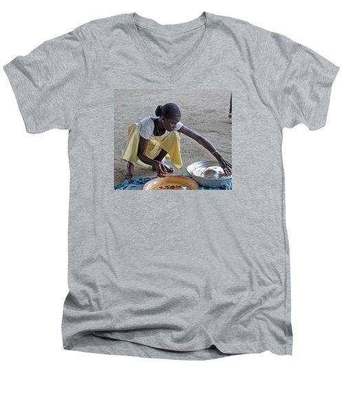 Making Lunch Dakar Senagal Men's V-Neck T-Shirt by Jay Milo