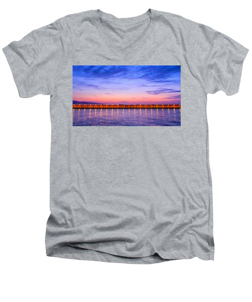 Malaga Pink And Blue Sunrise  Men's V-Neck T-Shirt by Debra Martz