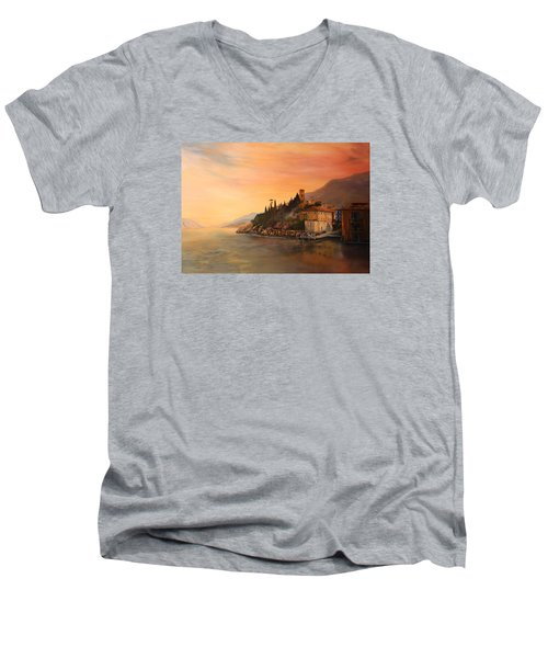 Men's V-Neck T-Shirt featuring the painting Malcesine Lake Garda Italy by Jean Walker