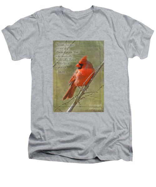 Male Cardinal On Twigs With Bible Verse Men's V-Neck T-Shirt by Debbie Portwood
