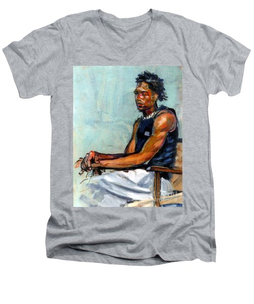 Male Figure Sitting Men's V-Neck T-Shirt