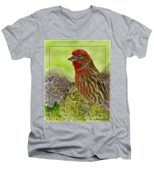 Men's V-Neck T-Shirt featuring the photograph Male Finch In Hydrangesa by Debbie Portwood