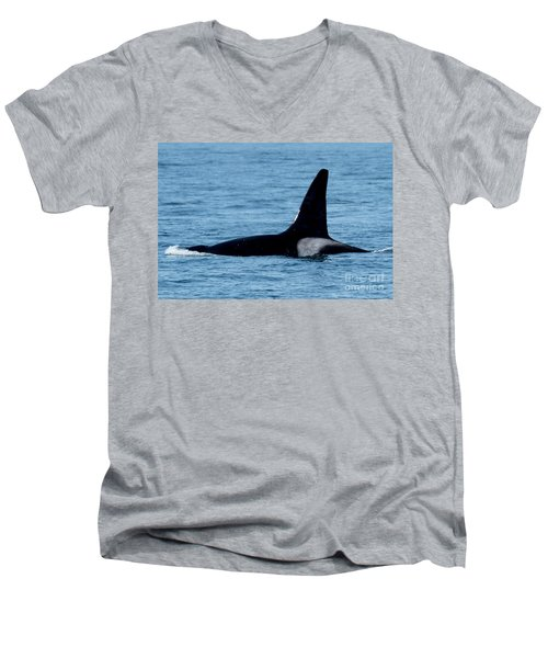 Men's V-Neck T-Shirt featuring the photograph Male Orca Killer Whale In Monterey Bay 2013 by California Views Mr Pat Hathaway Archives
