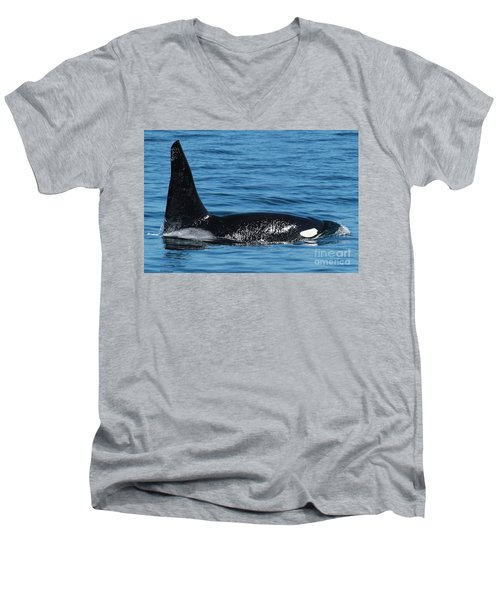 Men's V-Neck T-Shirt featuring the photograph Lonesome George Ca165  Male Orca Killer Whale In Monterey Bay California 2013 by California Views Mr Pat Hathaway Archives